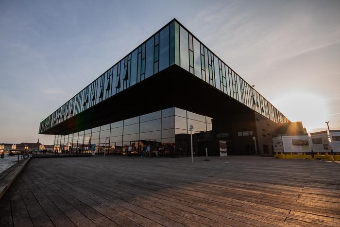 The Skuespilhuset (Copenhagen, Denmark) at sunset. Urban photography