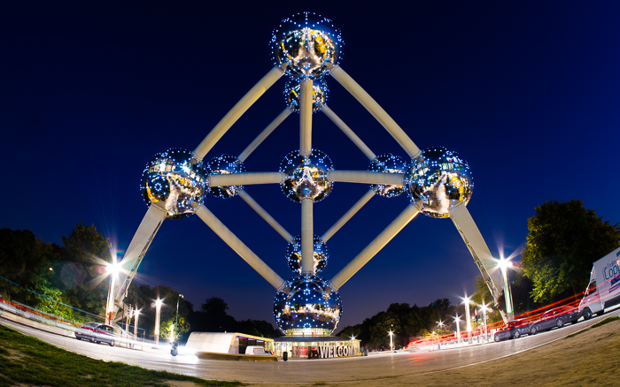 Frontview of the famous Atomium landmark in Brussels at night.