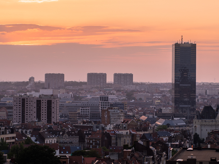 Brussels cityscape and skyline taken at sunset. Urban photography