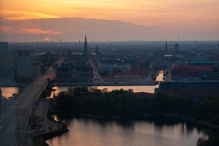 Birds eye view of Copenhagen skyline at sunset