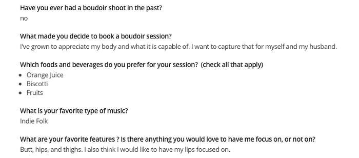 Screenshot of a questionnaire for a boudoir shot