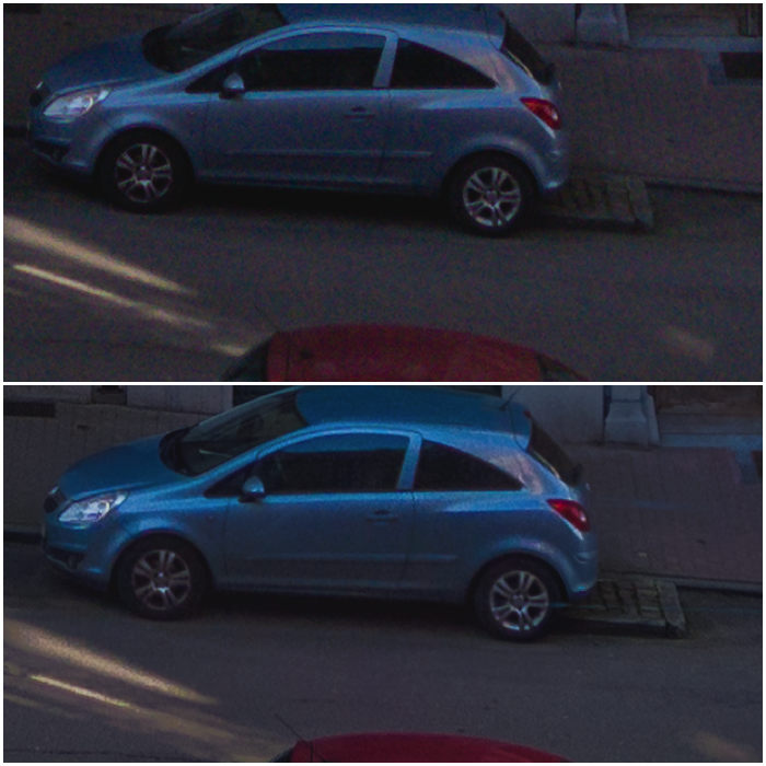 Two images of a blue car on the street. 100% crop from the single exposure 0EV (top) Vs HDR from -2EV, 0EV and +2EV exposures (bottom).