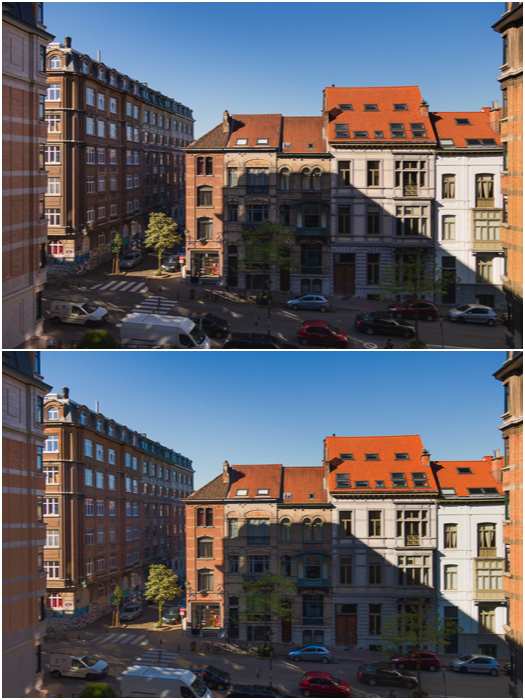 A diptych of the same street scene shot at a single exposure 0EV (top) vs -2EV, 0EV and +2EV exposures (bottom)