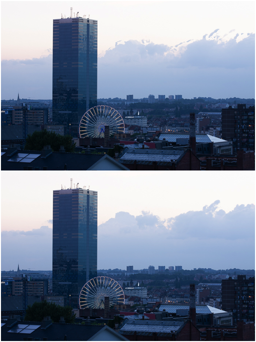 Two photos of the same cityscape. Comparison between simple HDR fusion (top) and fusion with deghosting (bottom).
