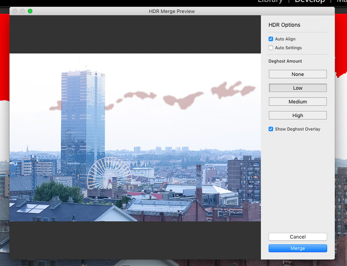 The HDR Merge panel in Lightroom.