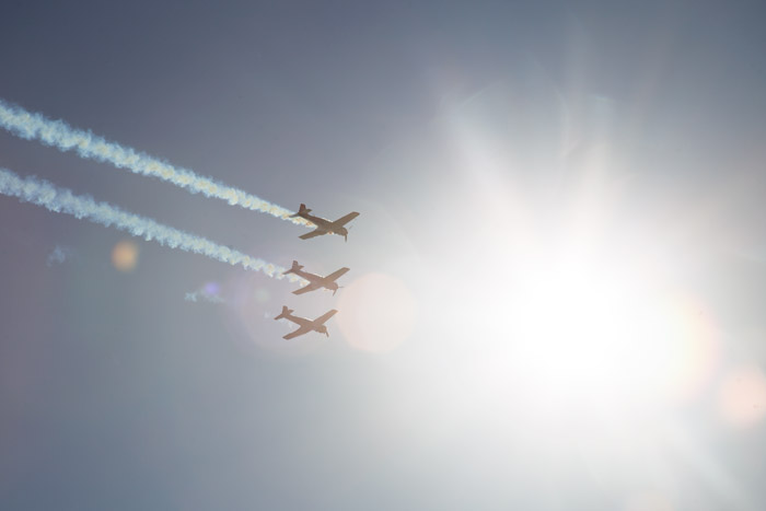 Three airplanes flying - airshow photography