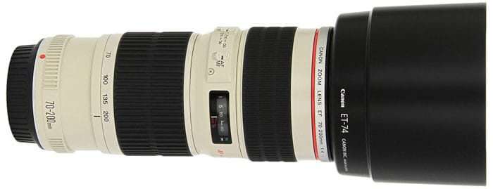 A telephoto lens on a white background - 35mm vs 50mm lens
