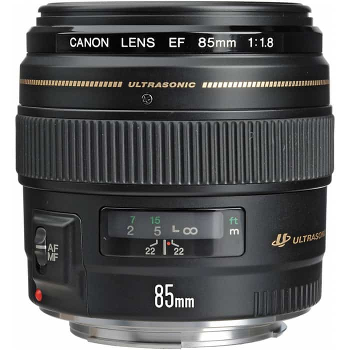 A canon 85mm lens on white background - 35mm vs 50mm lens