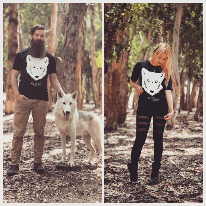 A diptych advertising showing of a man with a white dog, and a girl both posed in a forest - commercial photography tips
