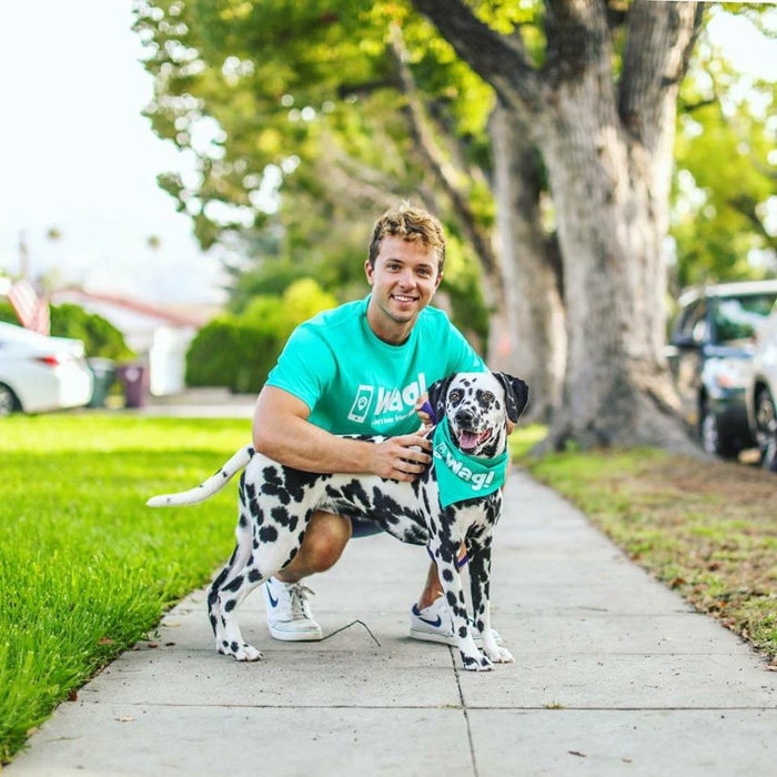 Bright and airy commercial portrait of a man holding a dalmation dog outdoors - commercial photography tips