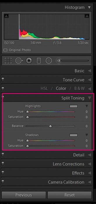 Screenshot of Adobe Lightroom split toning panel for editing flower photography