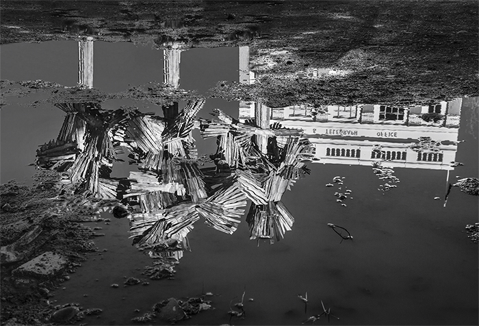 Black and white street photography of Regan Gentry's 'Woods from the Trees' sculpture and a building reflected in a puddle. Rain photography