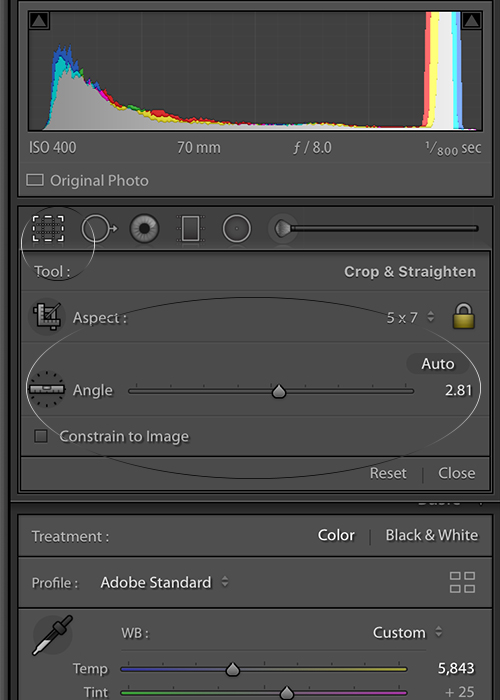 Adjusting the crop tool sliders in Lightroom