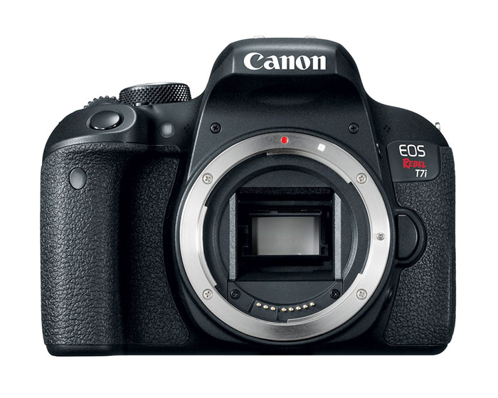 A Canon Rebel T7i on white background
