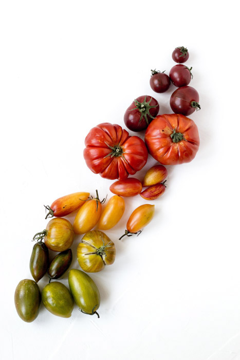 Cool overhead shot of different colored tomatoes