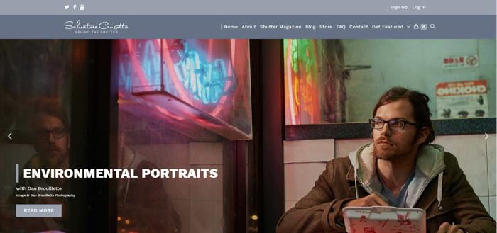 a screenshot of Behind the Shutter photography website
