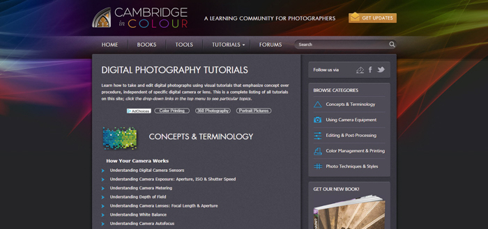 a screenshot of the cambridge in colour website
