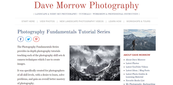 a screenshot of Dave Morrow Photography website