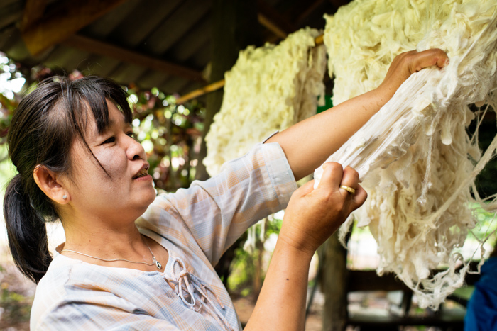 Phrao, Chiang Mai, Thailand - July 11 2013: A woman prepares raw silk before she spins it in north Thailand.