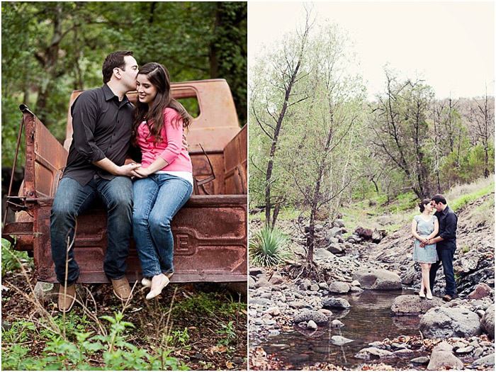 A sweet engagement photography diptych of the couple embracing in a wooded area