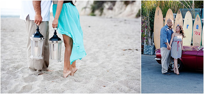 A sweet engagement photography diptych of the couple standing in a beach area