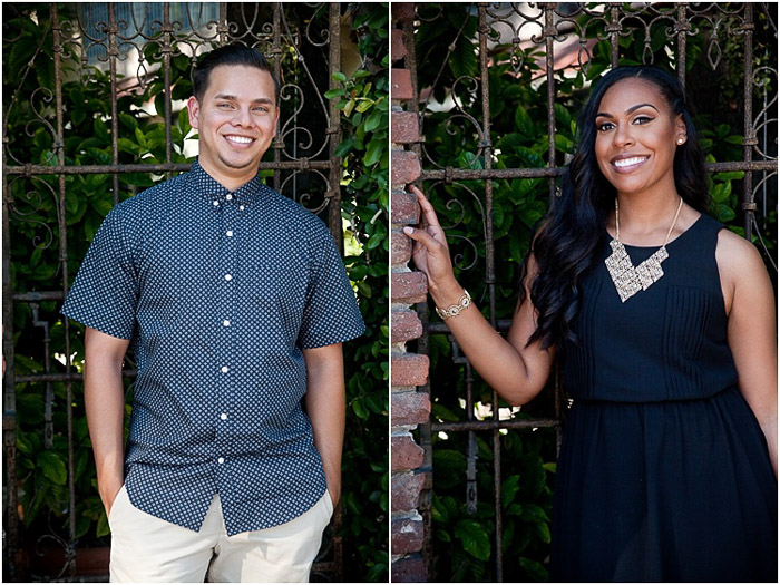 An engagement shoot photo diptych - portrait of each of the couple standing against a gate