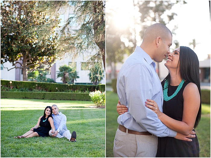 Bright and airy engagement photography diptych of the couple embracing in a garden