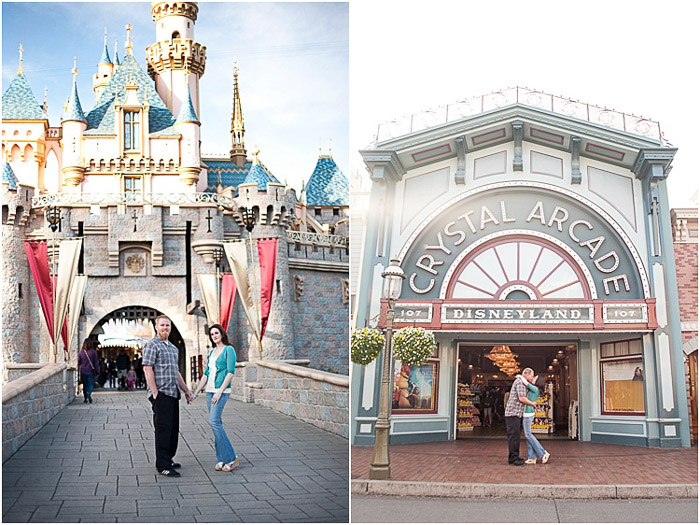 Bright and airy couple poses diptych standing and embracing in Disneyland