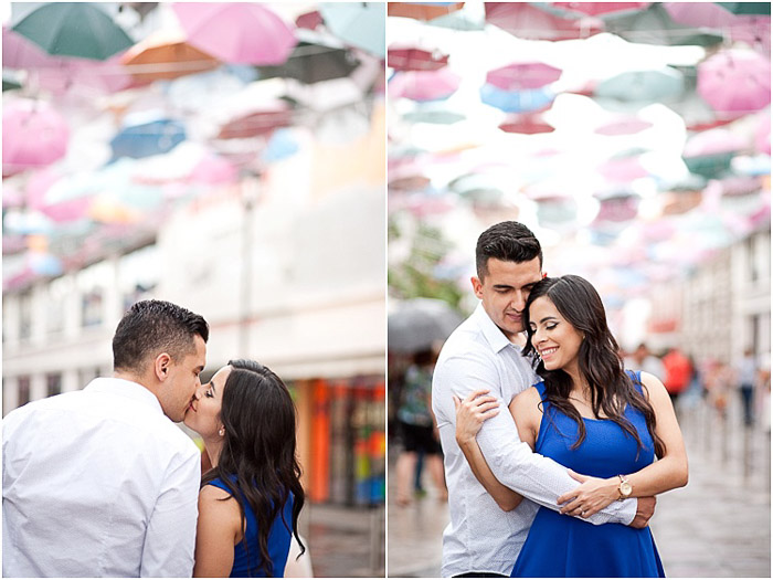 A sweet engagement photography diptych of the couple embracing outdoors