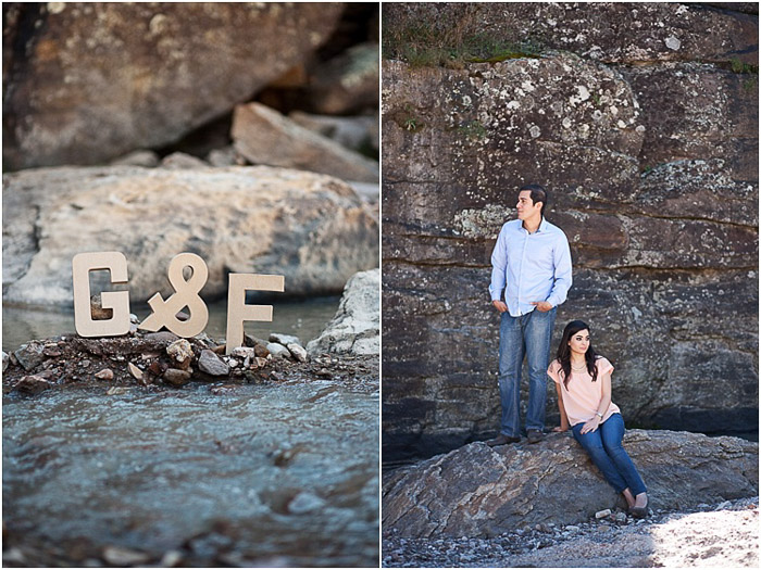 Creative engagement photography diptych of the couples initials and the couple against rocky background