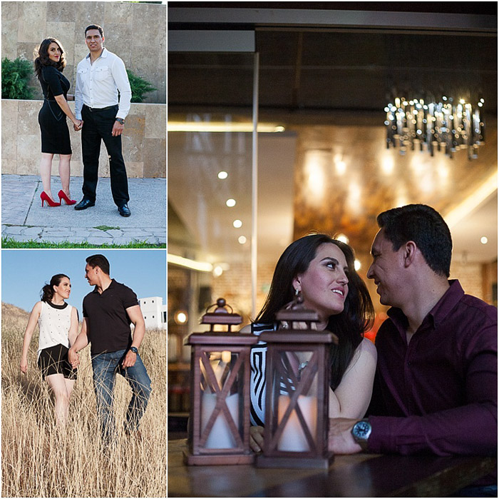 A sweet engagement photography diptych of the couple standing and sitting together in various locations