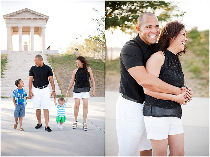 An engagement photography diptych of the couple holding hands with their small sons and embracing in a garden