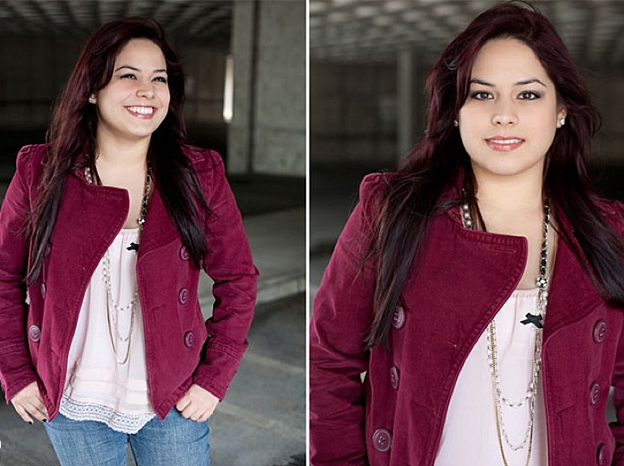 An environment portrait lighting diptych of a girl in pink jacket posing indoors