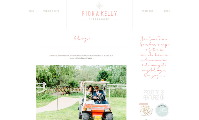 a screenshot of fiona kelly wedding photography website