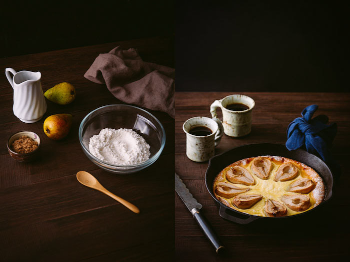 Diptych of food photography lighting set up on brown table