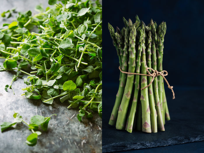 Food photography lighting diptych showing herbs and asparagus