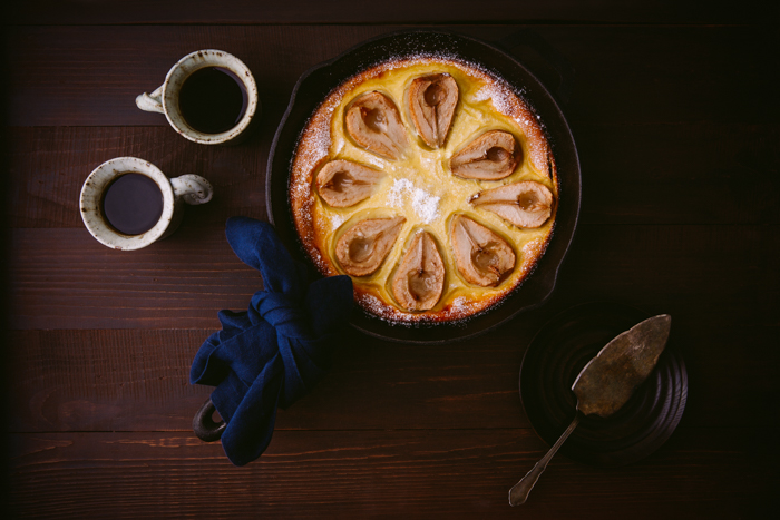 Overhead food photography shot of pear clafoutis