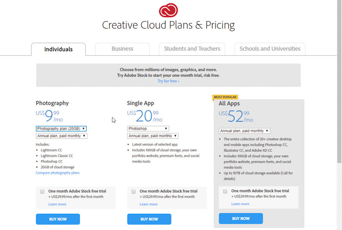 Screenshot of Creative Cloud plans and pricing which is a perfect gifts for photographers