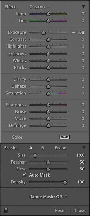 Captura de pantalla de Lightroom del panel de herramientas de filtro graduado