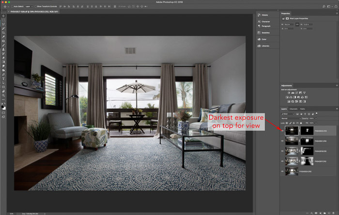 Lightroom interface of editing interior photography