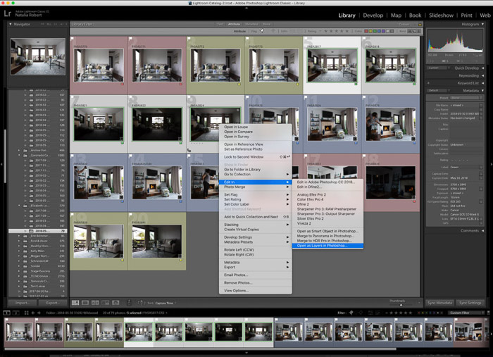 Lightroom interface of importing interior photography