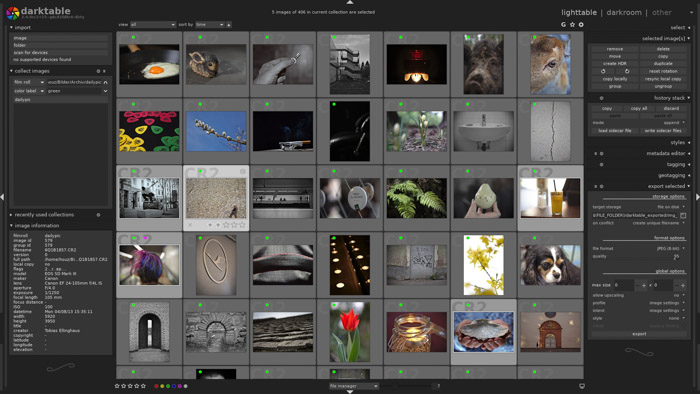 Screenshot of using Darktable photo editing software - Lightroom vs Darktable