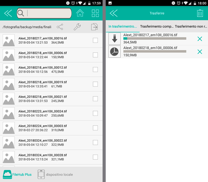 Screenshot of file managing on Hard Disk USB via RAV Power Hub