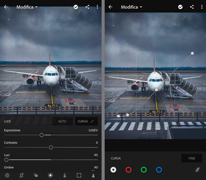 Screenshot of exposure and Curve Tool in Lightroom mobile.