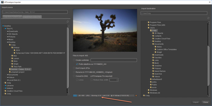 Lightroom screenshot of importing images to make a sequence on LRTimelapse