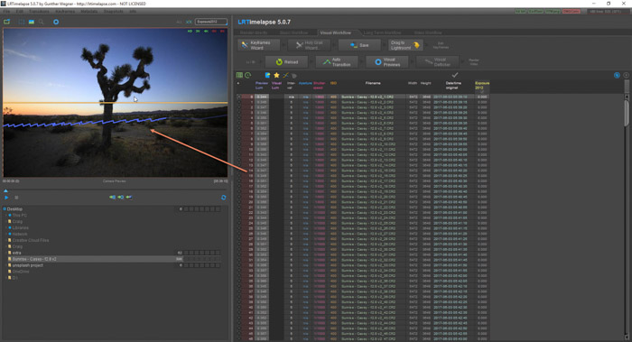 Lightroom screenshot of importing sequence on LRTimelapse