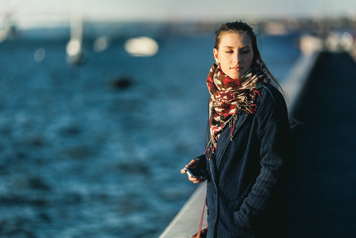 A natural light photography portrait of a girl by the Hudson river in Irvington, NY