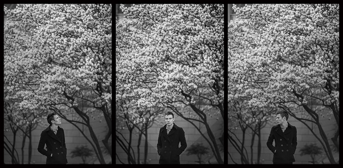 A natural light photography triple portrait of Oleg Gergel in front of cherry blossom trees in Frankfurt, Germany . Outdoor portrait photography tips.