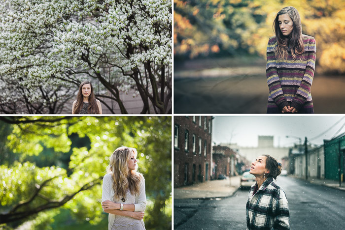 An outdoor portrait photography grid showing a female model posing in the four seasons: Spring, Fall, Summer and Winter.