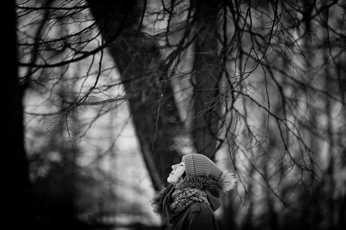 An outdoor portrait photography shot during winter in Saint Petersburg